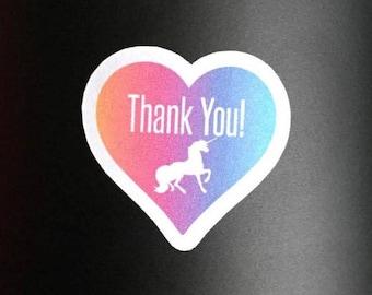 Thank you sticker, Thank you, unicorn, unicorn thank you, thank you unicorn, thank you rainbow, rainbow, thank you stickers, heart stickers