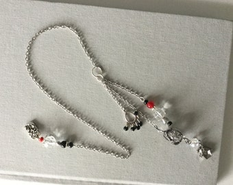 Silver Chain Bookmark Crystal Beads