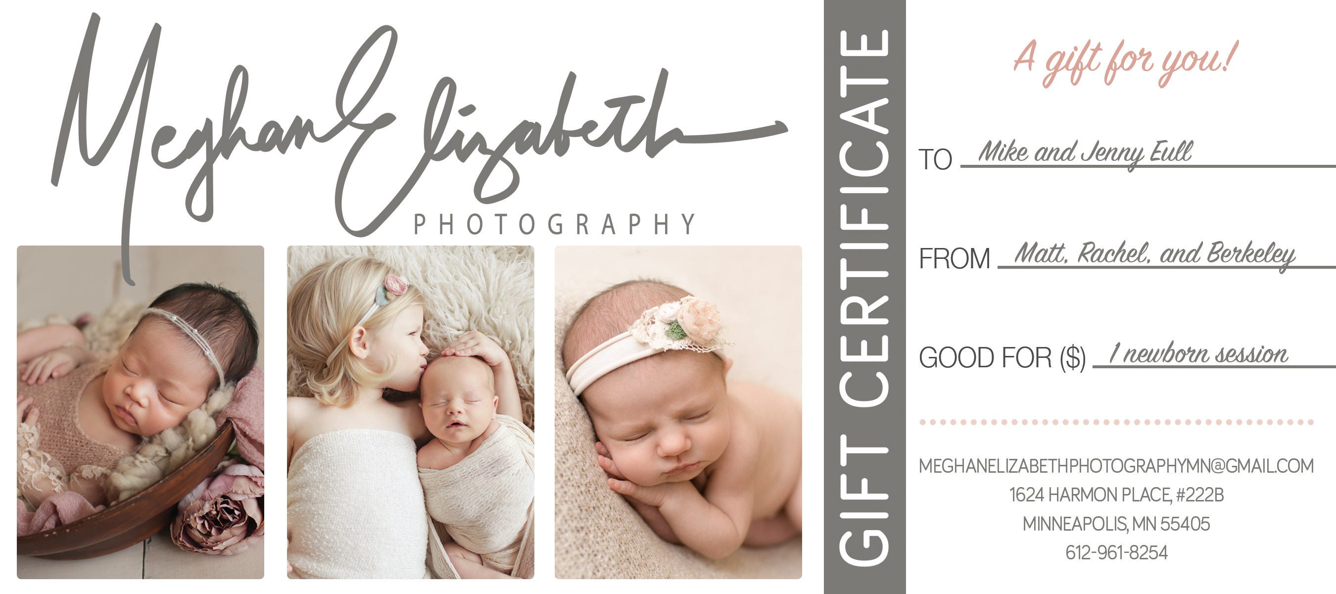 Photographer gift certificate template gift card gift this is a digital file yelopaper Image collections