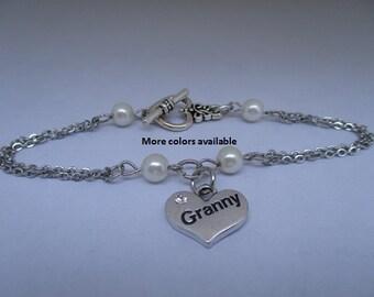 Granny Pearl & Charm Bracelet-Granny gift-gift for Granny-Granny jewelry-Granny bracelet-Granny birthday gift-Wedding shower jewelry, B405
