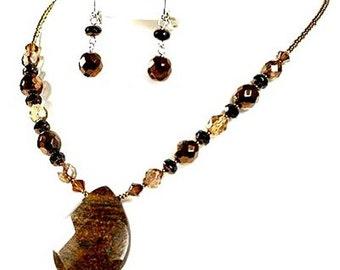 Teardrop Pendant Earthtone Semiprecious Beaded Jewelry Set