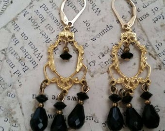 Vintage 14kt gold filled faceted onyx/black stone dangle drop chandelier earrings