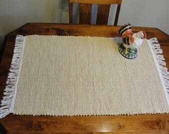 "Hand Woven Rag Rug Golden Tan Measures 24 1/2"" x 43"" Item# 434"