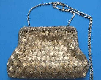 Laura Beaded Vintage Purse; Silver Beads;  Geometrical Pattern; Top Kiss Clasp and Snake Chain Metal Handle; Satin Lining;  Inside Pocket