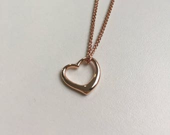 Rose Gold Sterling Silver Open Heart Necklace
