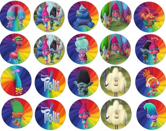 Trolls  Edible Images Cupcake, Cookie Toppers