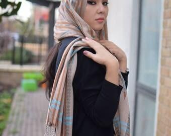 Beige silk blend ikat scarf