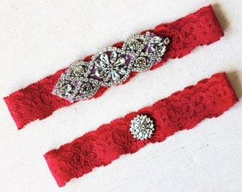 Red Wedding Garter Set NO SLIP grip vintage rhinestones