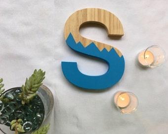 "Wooden Letter S 9"" Wall Art || Monogram S || Minimalist Mountain Letter || Hand Painted Letter"