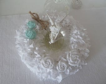 Door wreath * wall decorations * rose * fabric * white * Mint green * vintage * table decoration * roses * Pearl * ring * wreath *.