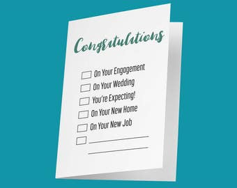 DIY Congrats Card / Funny Wedding Card / Funny Engagement Card / Funny Pregnancy Card / Funny New Home Card / Funny New Job Card