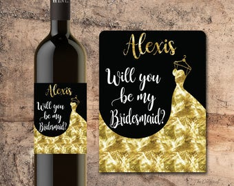 BRIDESMAID Gold WINE BOTTLE Label - Will You Be My Bridesmaid Proposal - Asking Bridesmaid - Ask Bridesmaid - Asking Maid of Honor