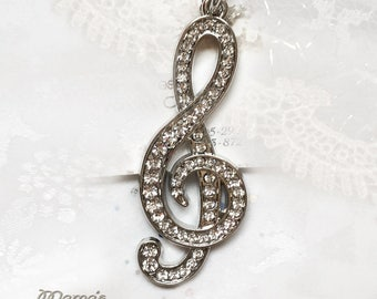 "Jewel Encrusted Treble Clef Necklace, Silver Plated, 18"", Nickel Free Lobster Claw, Women's, Ladies', Men's, Unisex, Music, Shiny, Sparkly"