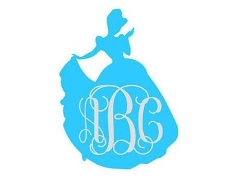 Princess Cinderella Monogram vinyl decal