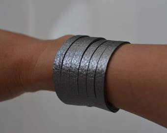 Gunmetal leather cuff, leather cuff, gunmetal leather bracelet