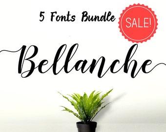5 digital fonts Font Bundle - Calligraphy font - Font download - Handwritten font - Watercolor font - Wedding font - Font instant download
