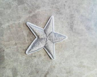 Silver Star Patch Iron on Applique