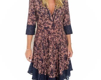 Printed cotton dress, asymmetric