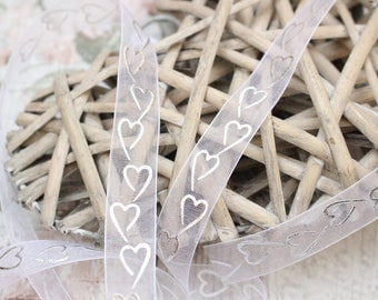 Organza Ribbon, 1 Meter Sheer Organza Ribbon, 15mm Silver Heart Organza, Wedding Ribbon, Haberdashery, White Organza.