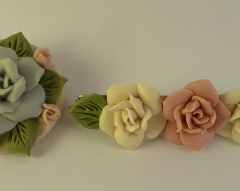 Flower Bouquet Brooch Pin and Hair Clip