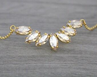 Gold necklace, Bridal necklace, Swarovski crystal necklace, Bridal jewelry, Wedding necklace, Champagne crystal necklace, Wedding jewelry