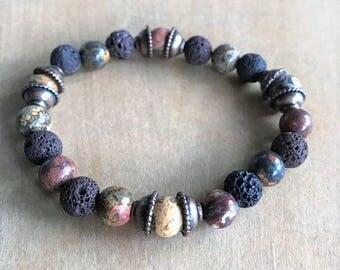 leopard jasper and lava rock beaded stretchy bracelet w/ antique copper beading caps