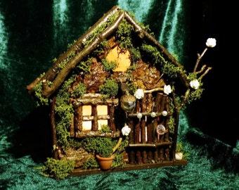 Fairy House - Wren Cottage - Night light, Nite Light Holder, Lighting, Tea Light Holder, Fairy Furniture, Fairy Garden, Home Decor
