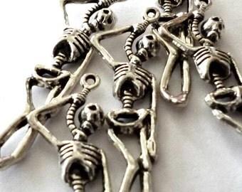Silver Tone Metal Hanging Skeleton Pendant or Charm - H368