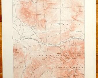 Vintage Mountain Range Map Etsy - 1896 map of us