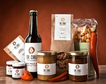 The best of Dr. Chili - gift package with the most popular drinks, spreads & sauces