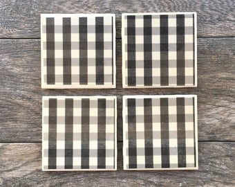 Black and White Buffalo Plaid Ceramic Coasters