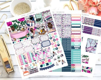 Cheers to the Weekend - Brunette Girl: Printable Planner Stickers