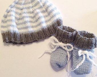 Little Raincloud Baby Boy Hat And Booties Baby Shower Gift Set