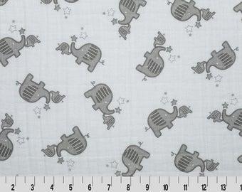 Shannon Fabrics, Elephants Embrace Fabric, Elephant Double Gauze Fabric, Elephant Fabric, Fabric By The Yard