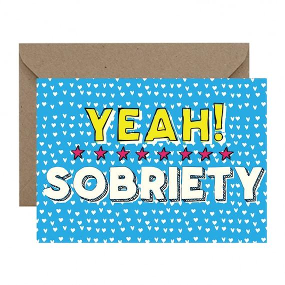 YEAH Sobriety Birthday Card Sobriety Anniversary AA