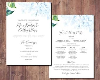 Wedding Program, Printable Wedding Program, Wedding Ceremony Program, Wedding Order of Service, Purple Wedding, Lilac Wedding, Blue Wedding