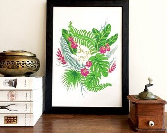 Illustration, poster, poster, exotic and tropical jungle
