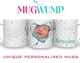 New Baby Boy. Personalised Baby Boy Newborn Mug. Newborn Gift. Personalised Mugs.  Photo Mugs.