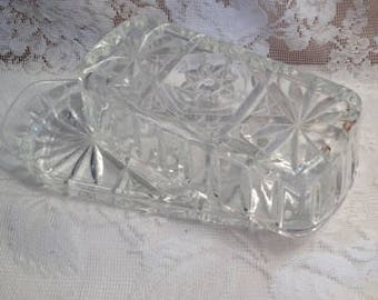 Vintage Pressed Glass Butter Dish