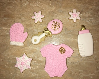 Winter baby girl cookies