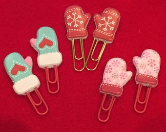 Handcrafted adorable Mitten Clips - 3 in Set | Stocking Stuffers | Teacher Gifts | Planner Accessories | School & Office Supplies