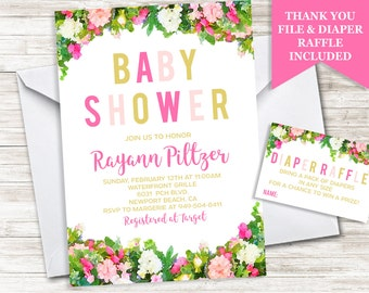 Baby Shower Invitation Invite 5x7 Sprinkle Girl Digital Watercolor Floral Flowers Personalized 5x7 Bundle