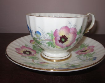 Trentham Royal Crown Pottery Tea Cup and Saucer in the Anemone Pattern.  Pristine!!