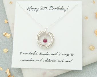 80th Birthday Gift For Her, 80th Birthday Birthstone Necklace, 80th Birthday Gift For Grandma, 80th Birthday Jewelry, 80th Keepsake, 8 Rings