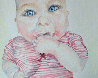 Custom Watercolor Portrait, 11x15