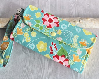 Yellow Blue Floral Womens wallet, Accordion womans wallet, handmade fabric clutch, Wristlet wallet, iphone wallet, card wallet