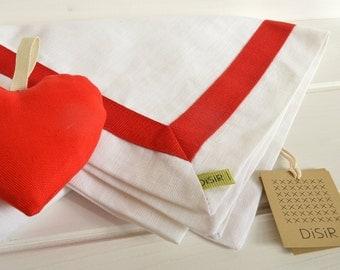 Red and white linen table runner, linen, linen