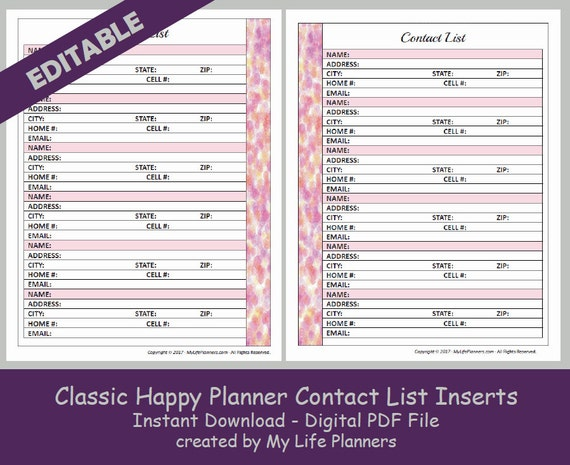 CLASSIC Happy Planner Contact List Inserts Editable Printable