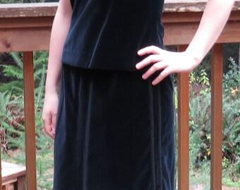 Authentic 50's Black Velvet Haute Couture 3 piece Outfit Set, Suit Set, Velvet Chaleco Vest, Velvet Pencil Skirt, and Velvet Top/ Size Small