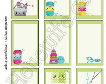 Knitting, Happy Planner stickers [233] , Full box, A5 PDF, Instant download